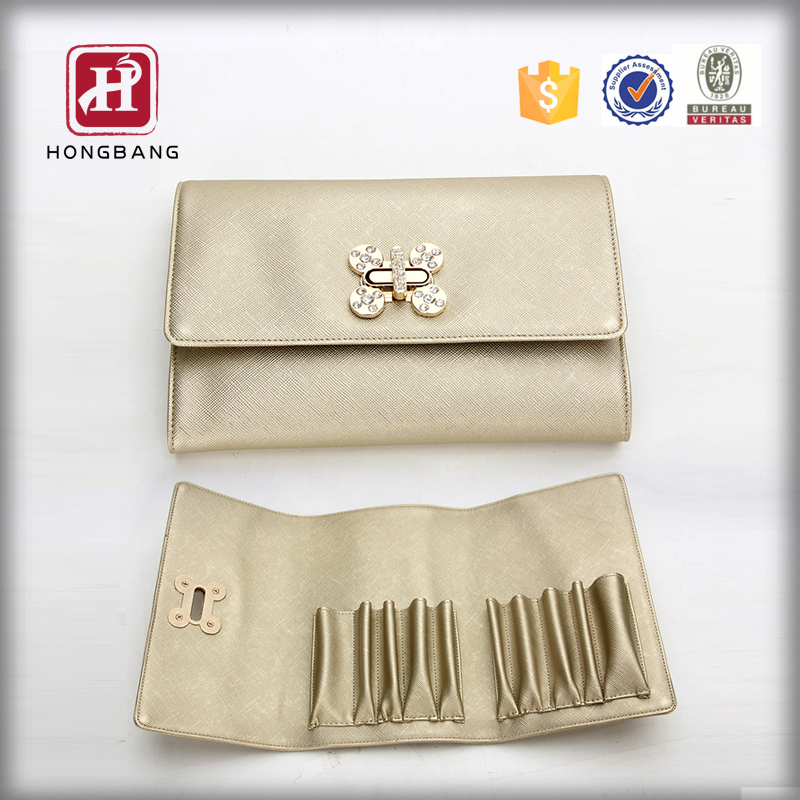 Promotional Cosmetic Bag , PU Cosmetic Bag With Metal Open