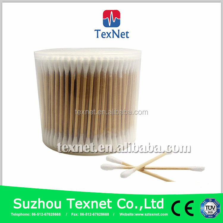 China Suzhou Texnet Superior quality Well received disposable cotton buds, wood stick cotton bud