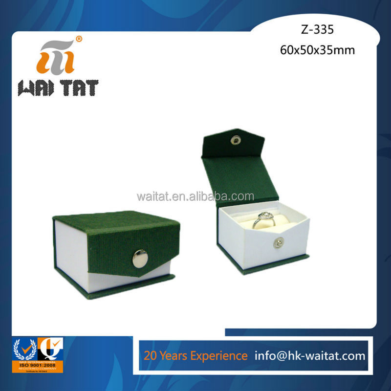 The Cube Creative Elegant Jade Green Vinyl Paper Wrapped cardboard Ring Jewellery Box