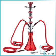 New Design Narguile Hookah With 4 Hoses Red Glass Hookah Shisha