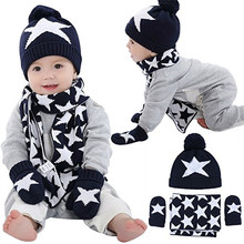 Baby Kids Stars Winter Warm cold weather Knitted Beanie Hats Scarf And Gloves Set