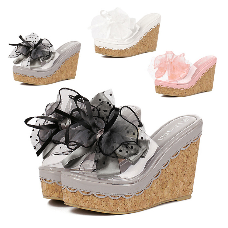 Gladiator Sandals Women Platform Sandal Wedges Flip Flops 2015 Summer Shoes Woman transparent Flowers Slippers ladies pumps