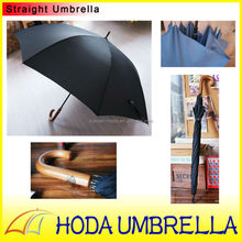 Top quality promotion wooden handle metal frame solid fabric black gentleman straight umbrella with logo printed