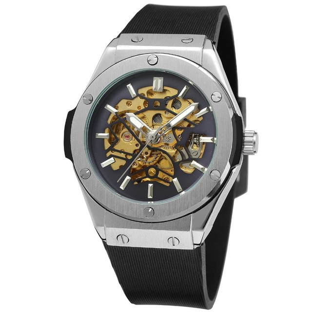 Wholesale Forsining 389-3 Brand Mens Fashion Leisure without Logo Automatic Skeleton Mechanical Wristwatches Relogio Masculino