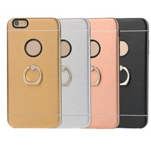 Aluminum metal TPU finger ring holder phone case for iphone 6 6s plus drawing ring buckle case