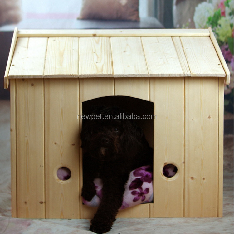 Factory direct hot sell solid wood pet bed house painting wood dog house with balcony