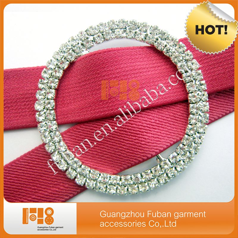wholesale tow rows round wedding chair sash rhinestone ribbon buckle