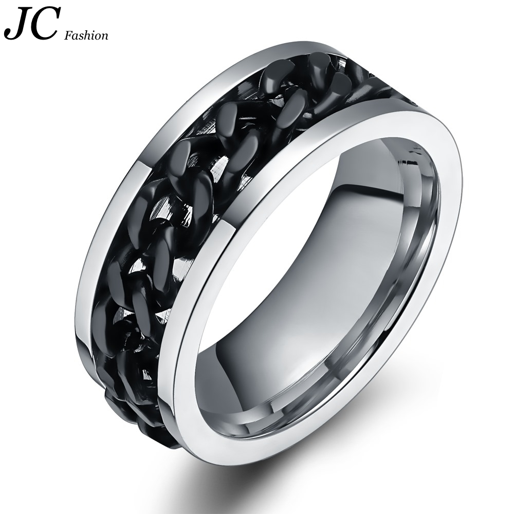 Wholesale Stainless Steel Mens Ring with Black Carbin Chain