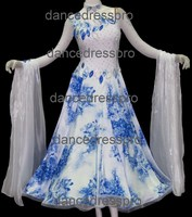#2288 Customs-made Floral Printed Ballroom Modern Dance Dress