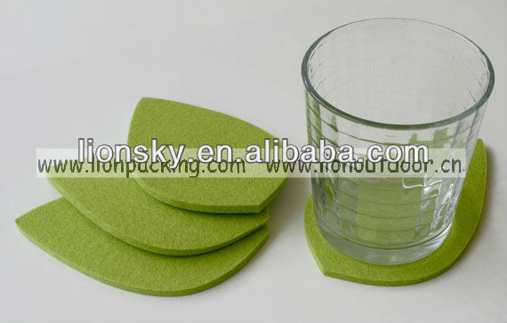 Lemon Green Leaf felt coaster mats