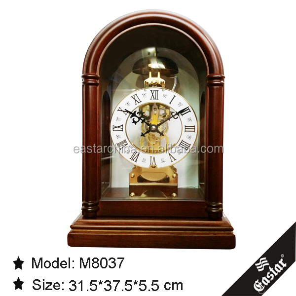Desk clocks church style wooden winding clock without battery