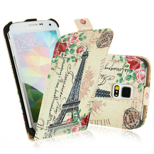 Retro Eiffel Tower Painting Flip Pu Leather Case for Samsung Galaxy S5 S V