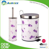 Unique outlook tin plate floral design bathroom accessory set
