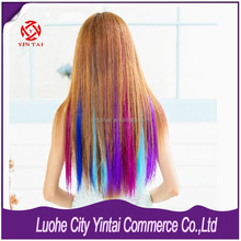 Wholesale Lowest Price Clip in Synthetic Hair Extensions Streaks colourful High Temperature Synthetic Hair