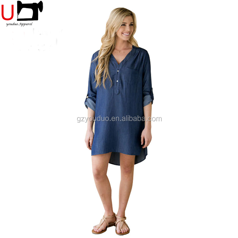 Plus Size Loose Blue V Neck Long Sleeve Casual Denim <strong>Dresses</strong> For Women