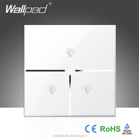 Luxury Wallpad White Glass LED Indicator 110~250V 3 Gang Phone Wifi AC Electrical Remote Controlled Power Light Switch 220v