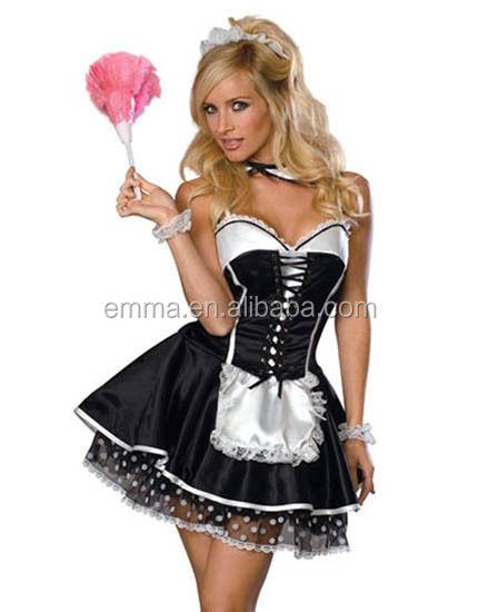 Sexy yiwu factory price xxl french maid costume pattern wholesale BWG13073
