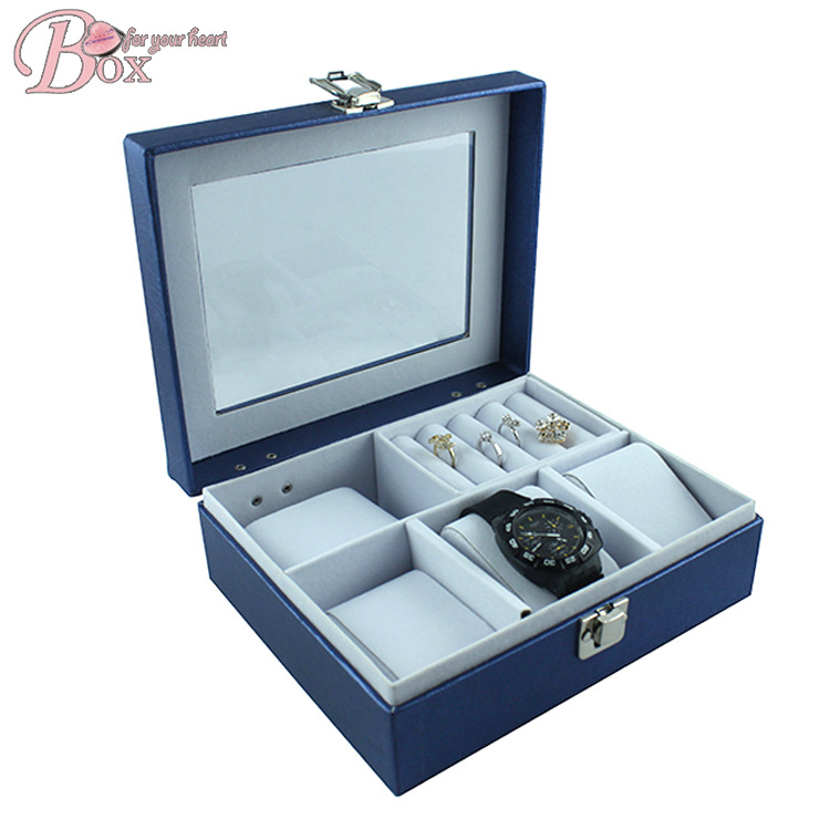 High Quality Mirrored Storage Box for Jewelry with PVC Window leather jewelry box