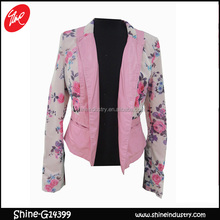 top quality fashion women flower printed jacket