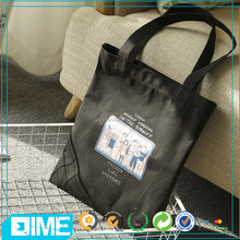 New Product Fashion Latest Cartoon Ladies Black Canvas Tote cotton Bag