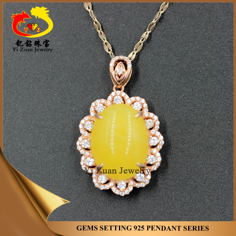 Rose gold plating prong setting oval shape amber raw engagement pendant