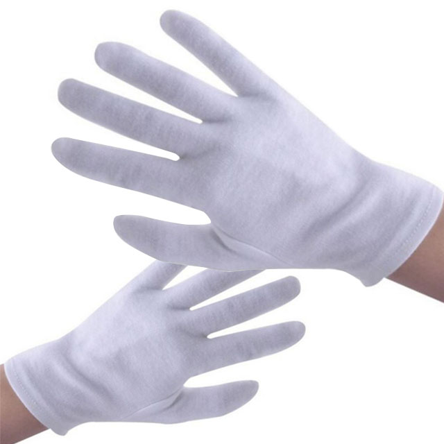 Cheap soft white cotton hand gloves / jewellery gloves
