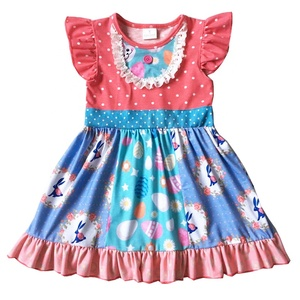 3884e2e1546 China Factory Boutique Holiday Easter Eggs Bunny Kids Frocks Cotton Cute  Girls Patchwork Easter Dress