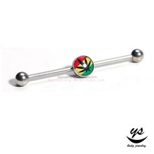 Fashion Stainless Steel Body Piercing Jewelry Custom Image Drop Oil Industrial Barbell