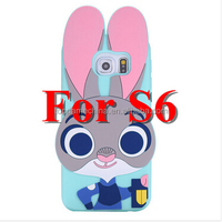 3D Crazy Zootopi Judy Rabbit Phone Case For Samsung galaxy S6 Silicon Cover