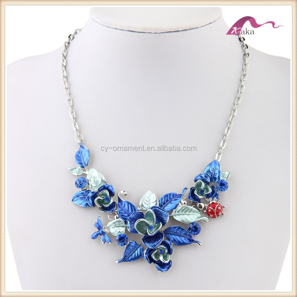 2017 women leaf flower enamel colorful chunky necklace,fancy gorgeous 3D flower necklace