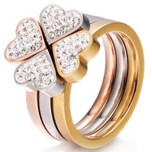 Simple Stacking 4 Leaf Heart Ring, Rose Gold Plated Stainless Steel 3 Ring Set, CZ Crystal 316 Stainless Steel Ring