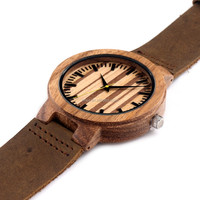 Novel Lovers Wooden Watches Handmade Nature Wood Bamboo Women Wristwatch Genuine Leather Band Strap Modern Simple Creative Sport