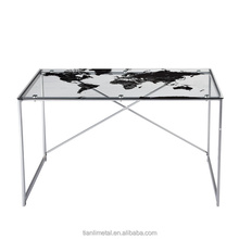 Glass top Fashion world Map desk for PC