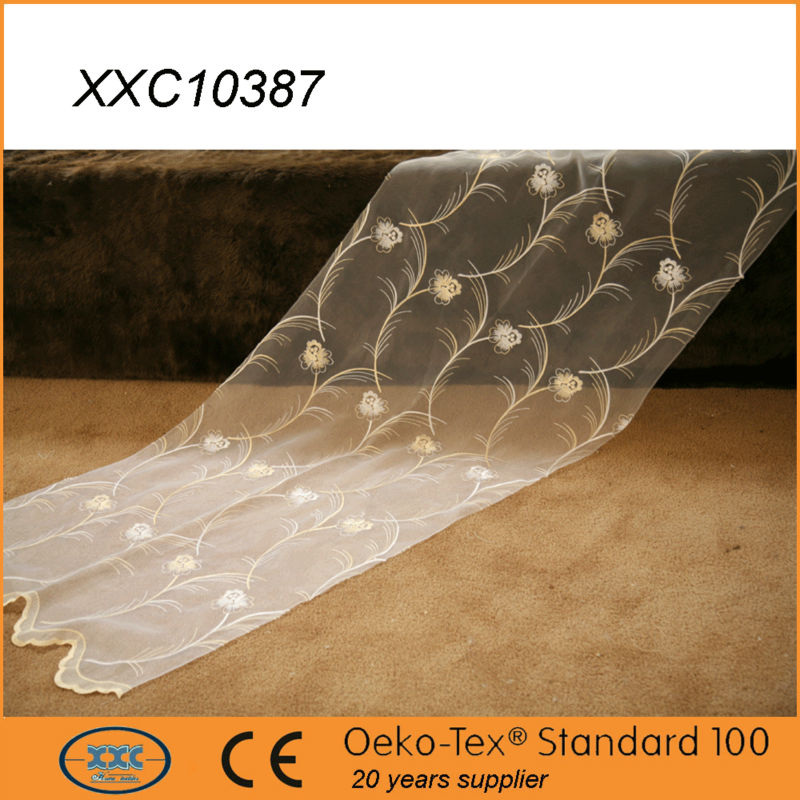 popular luxury flower embroidered organza wedding drapes