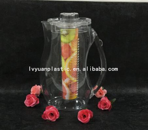Food safe plastic fruit infusion jug, water infuser pitcher, plastic water jug wholesale