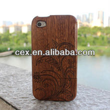 Generic Wood Hand Carved Flower Color Wood Case for iPhone 4 / 4s