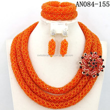 China fashion women jewelry glass beads for nigerian wedding beads set necklace wholesale