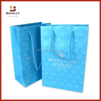 Custom art paper shopping gift bag with rope handle
