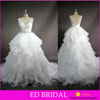 LN232 China factory real sample pictures lace top ruffled skirt wholesale alibaba wedding dress