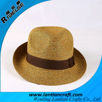 wholesale promotional hat paper straw fedora hat ribbons