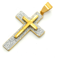 Wholesales Christian Jewelry 316L Stainless Steel 18K Gold Plated Two Layer Frosted Cross Pendant Unisex Style