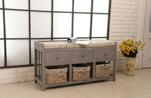 Vintage Grey 3 Drawer Wicker Basket Bench Shoe Accessory Furniture Wood