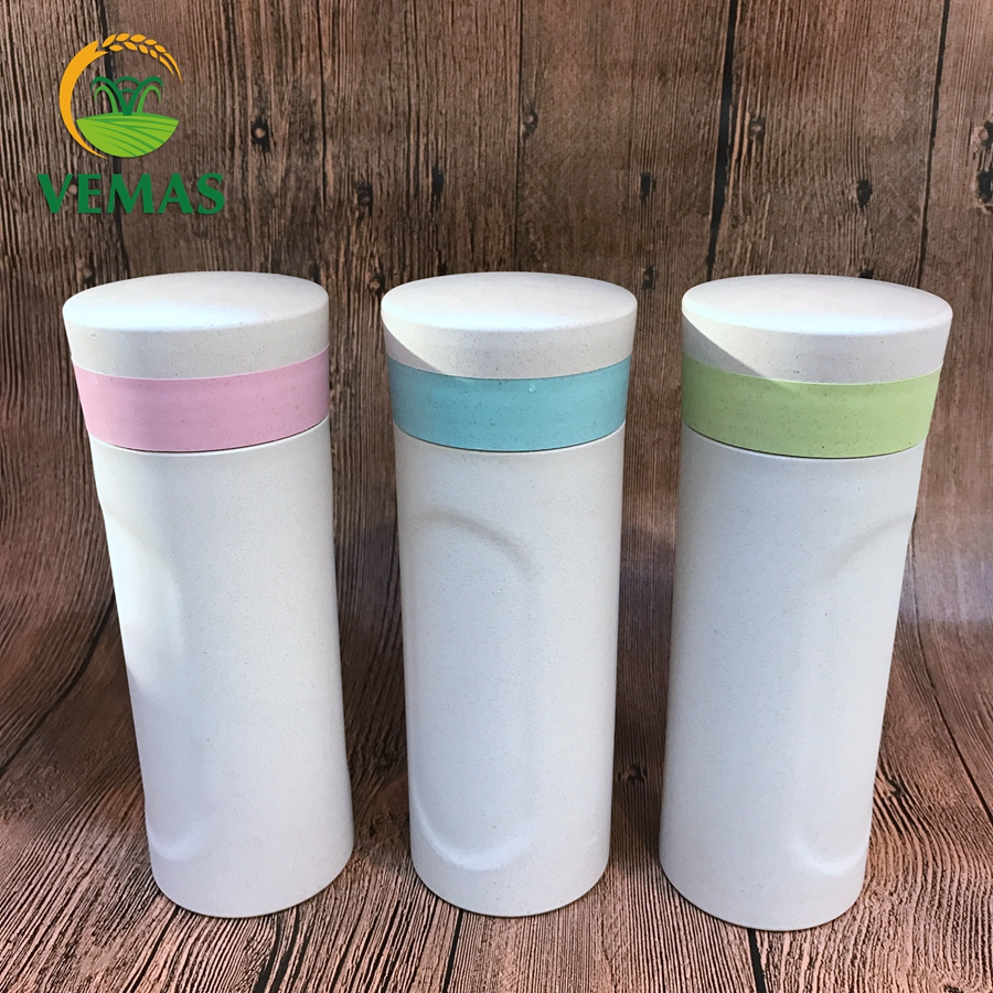 Manufacturer Promotional Logo Customized 450ml Rice Husk Fiber Plastic Travel Mug