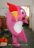 Garment torch dolphins doll walking plush costume pink dolphin carnival costumes