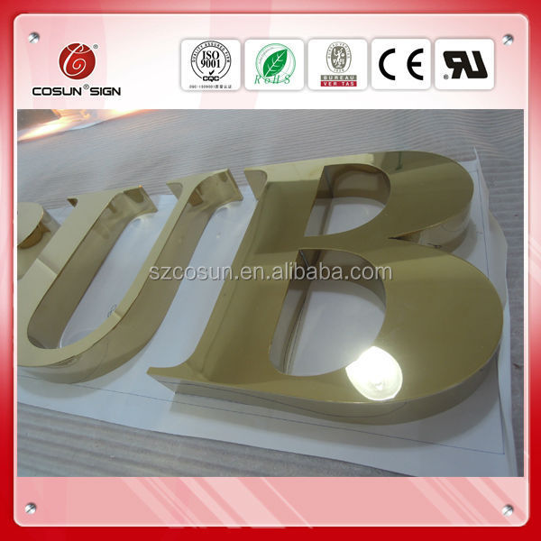 outdoor advertising signage, sign letters, plated stainless steel metal channel letter manufacture of china