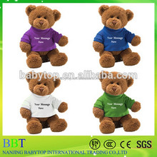 Customized size T-shirt plush Teddy bear toy wearing T-shirt with your own logo