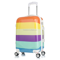 PC ABS flowers printed color travel trolley luggage bag set for girl