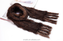 Long knitted mink fur poncho wraps with fringe natural brown color ST16KMS