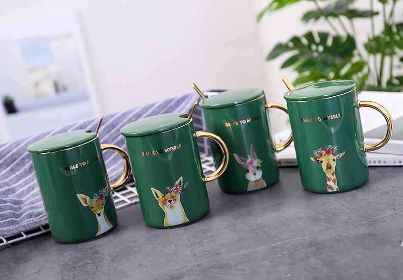 Zogift Personalised best valentine gold handle bridesmaid gift mug Gold-painted green color animal coffee ceramic mug