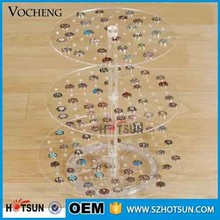 beautiful design 3 tiers acrylic countertop rotating jewelry display stand